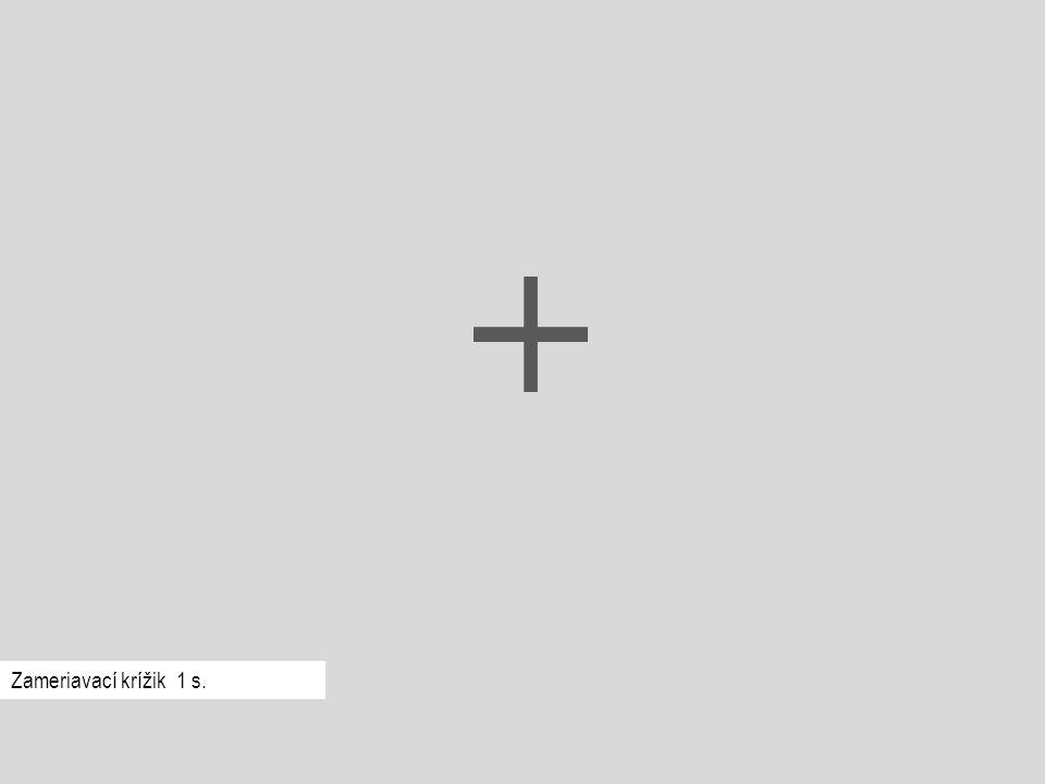Červená Podnetové slovo ostane na obrazovke, kým respondent nestlačí jednu z daných troch kláves.