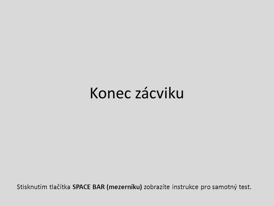 Konec zácviku Stisknutím tlačítka SPACE BAR (mezerníku) zobrazíte instrukce pro samotný test.