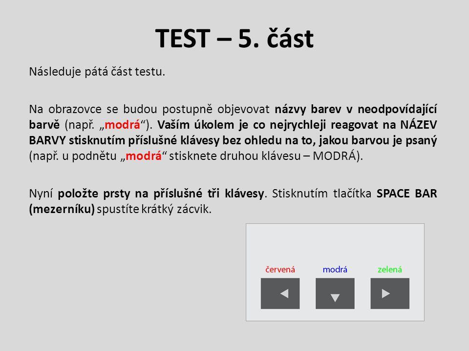 """TEST – 5. část Následuje pátá část testu. Na obrazovce se budou postupně objevovat názvy barev v neodpovídající barvě (např. """"modrá""""). Vaším úkolem je"""