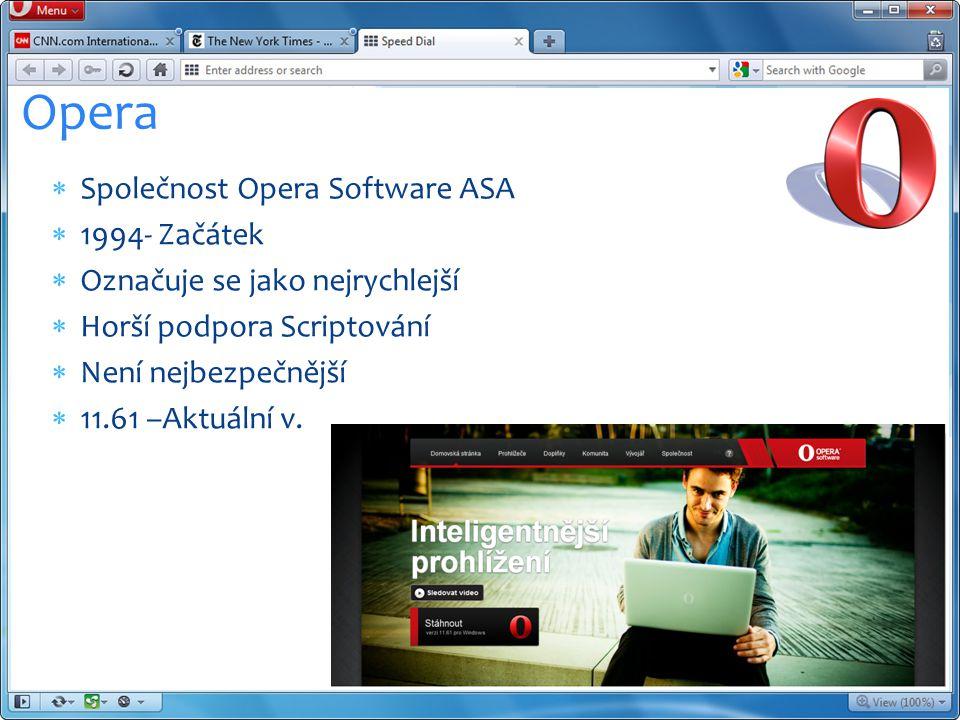 Společnost Opera Software ASA  1994- Začátek  Označuje se jako nejrychlejší  Horší podpora Scriptování  Není nejbezpečnější  11.61 –Aktuální v.