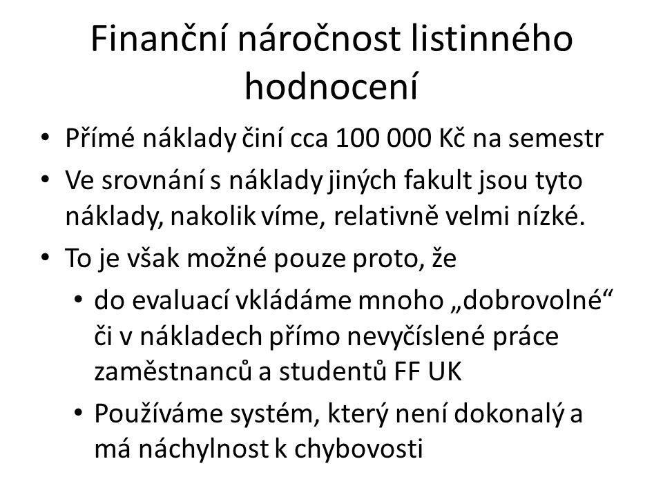 Finanční náročnost listinného hodnocení Přímé náklady činí cca 100 000 Kč na semestr Ve srovnání s náklady jiných fakult jsou tyto náklady, nakolik víme, relativně velmi nízké.