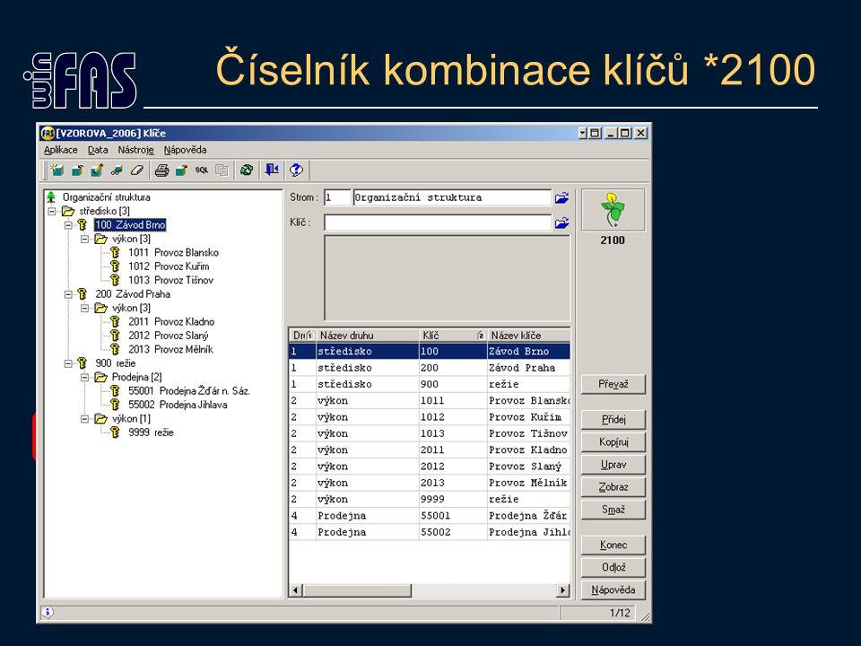 Číselník kombinace klíčů *2100