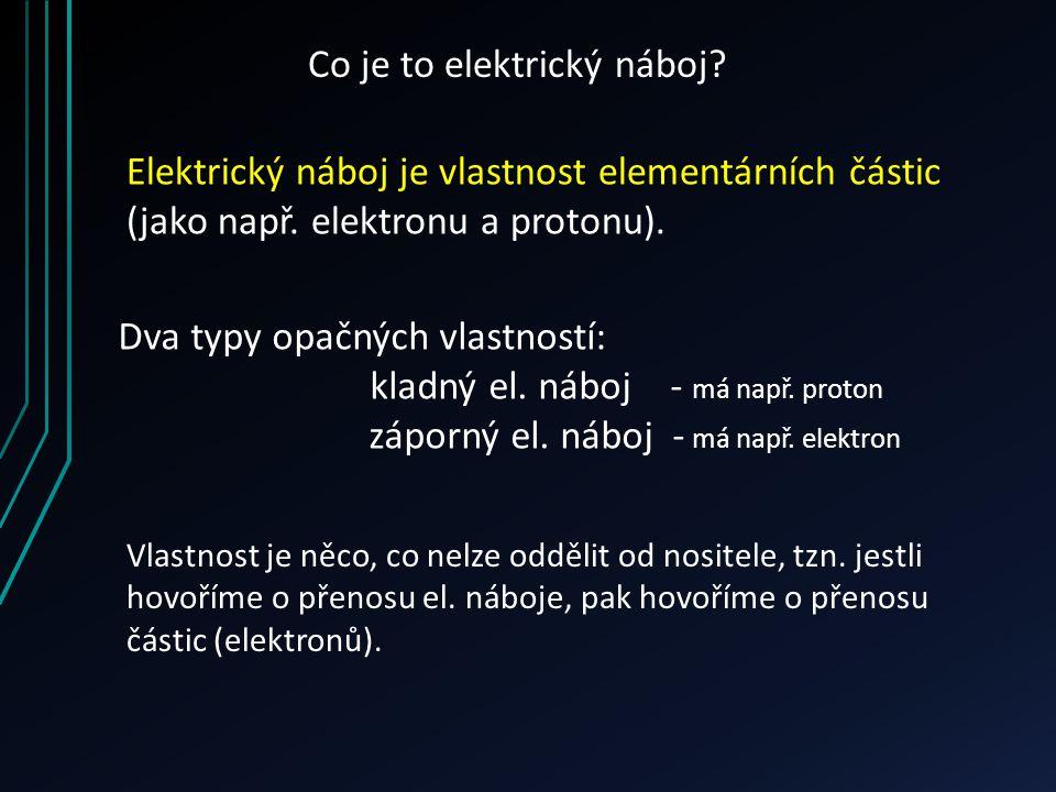Co je to elektrický náboj? Elektrický náboj je vlastnost elementárních částic (jako např. elektronu a protonu). Dva typy opačných vlastností: kladný e