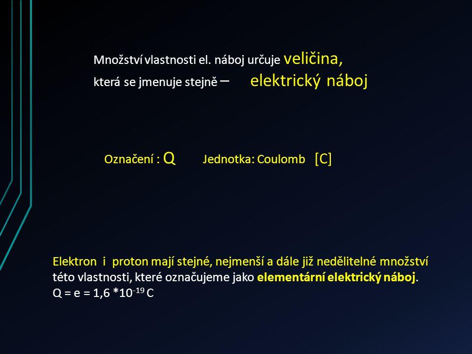 Množství vlastnosti el. náboj určuje veličina, která se jmenuje stejně – elektrický náboj Označení : Q Jednotka: Coulomb [C] Elektron i proton mají st