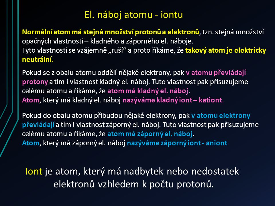 Normální atom má stejné množství protonů a elektronů, tzn. stejná množství opačných vlastností – kladného a záporného el. náboje. Tyto vlastnosti se v