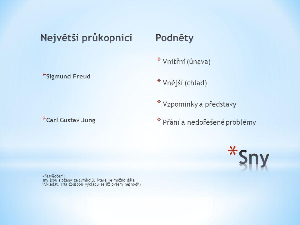 * Sigmund Freud * Carl Gustav Jung Přesvědčeni: sny jsou složeny ze symbolů, které je možno dále vykládat. (Na způsobu výkladu se již ovšem neshodli)