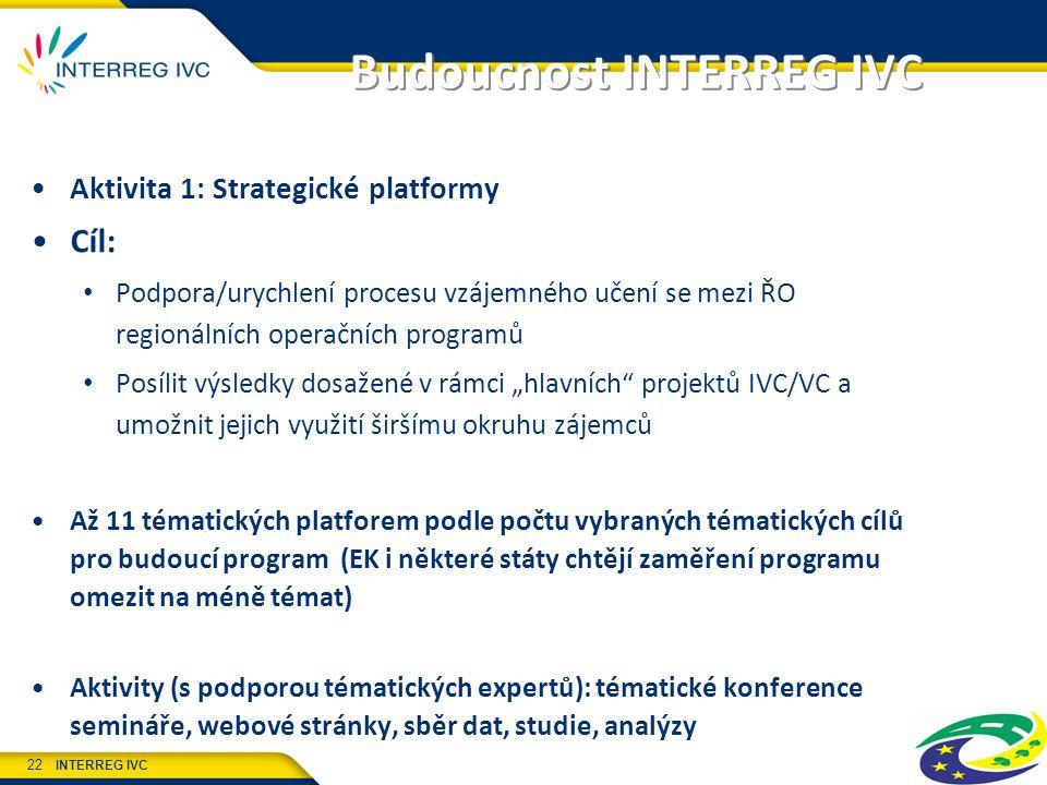 """INTERREG IVC 22 Budoucnost INTERREG IVC Aktivita 1: Strategické platformy Cíl: Podpora/urychlení procesu vzájemného učení se mezi ŘO regionálních operačních programů Posílit výsledky dosažené v rámci """"hlavních projektů IVC/VC a umožnit jejich využití širšímu okruhu zájemců Až 11 tématických platforem podle počtu vybraných tématických cílů pro budoucí program (EK i některé státy chtějí zaměření programu omezit na méně témat) Aktivity (s podporou tématických expertů): tématické konference semináře, webové stránky, sběr dat, studie, analýzy"""