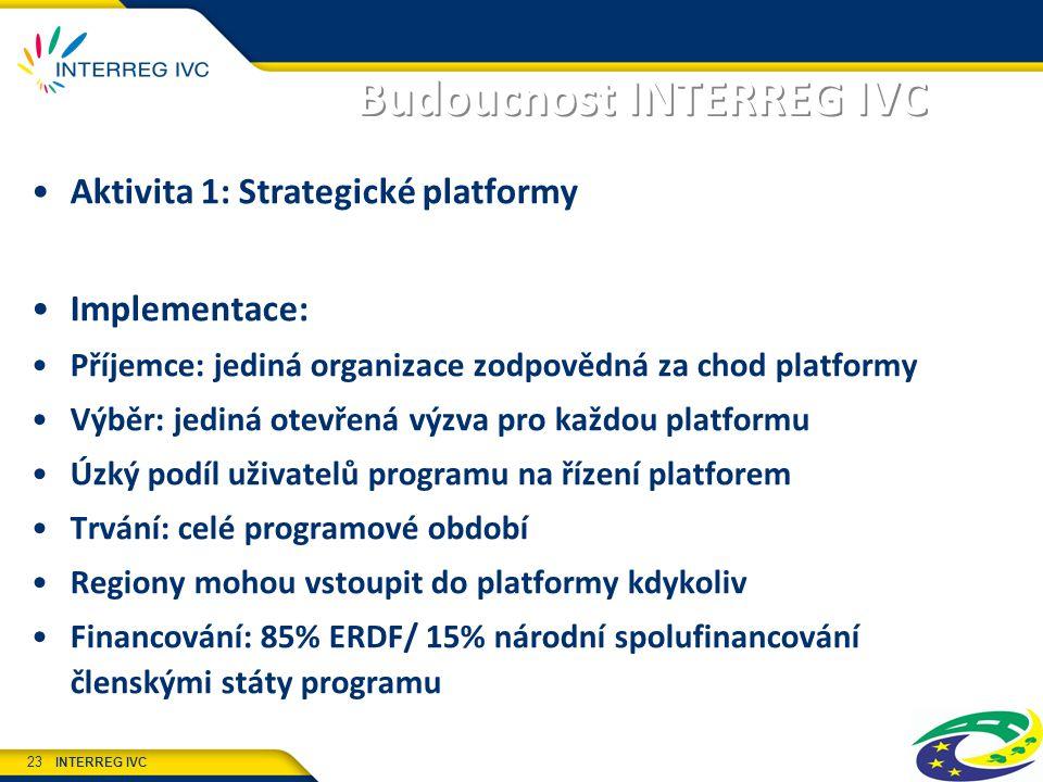 INTERREG IVC 23 Budoucnost INTERREG IVC Aktivita 1: Strategické platformy Implementace: Příjemce: jediná organizace zodpovědná za chod platformy Výběr: jediná otevřená výzva pro každou platformu Úzký podíl uživatelů programu na řízení platforem Trvání: celé programové období Regiony mohou vstoupit do platformy kdykoliv Financování: 85% ERDF/ 15% národní spolufinancování členskými státy programu