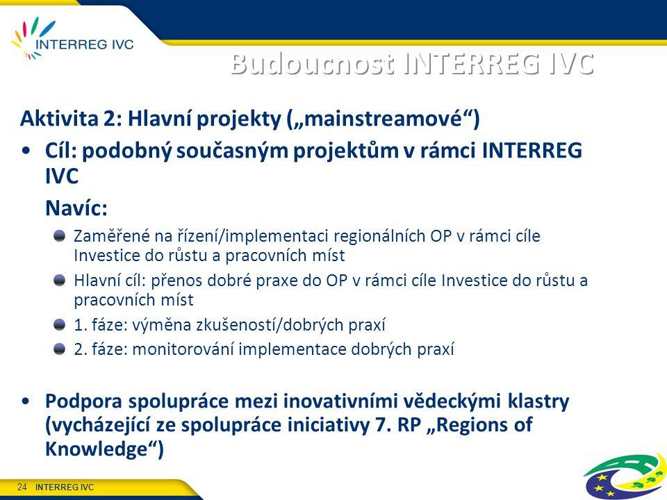 """INTERREG IVC 24 Budoucnost INTERREG IVC Aktivita 2: Hlavní projekty (""""mainstreamové ) Cíl: podobný současným projektům v rámci INTERREG IVC Navíc: Zaměřené na řízení/implementaci regionálních OP v rámci cíle Investice do růstu a pracovních míst Hlavní cíl: přenos dobré praxe do OP v rámci cíle Investice do růstu a pracovních míst 1."""