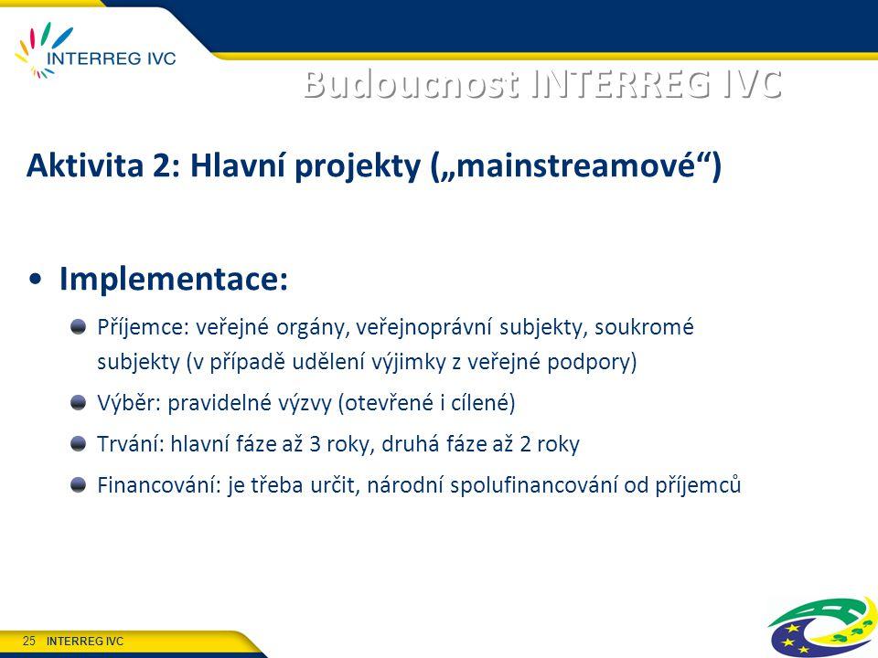 """INTERREG IVC 25 Budoucnost INTERREG IVC Aktivita 2: Hlavní projekty (""""mainstreamové ) Implementace: Příjemce: veřejné orgány, veřejnoprávní subjekty, soukromé subjekty (v případě udělení výjimky z veřejné podpory) Výběr: pravidelné výzvy (otevřené i cílené) Trvání: hlavní fáze až 3 roky, druhá fáze až 2 roky Financování: je třeba určit, národní spolufinancování od příjemců"""