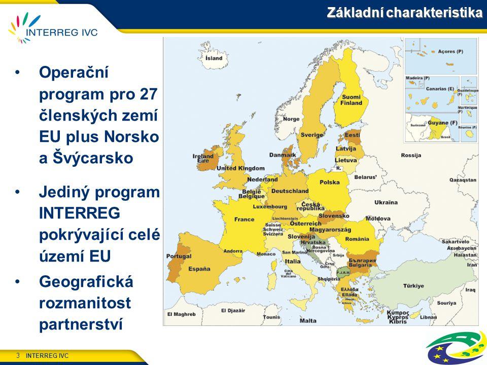 INTERREG IVC 3 Základní charakteristika Operační program pro 27 členských zemí EU plus Norsko a Švýcarsko Jediný program INTERREG pokrývající celé území EU Geografická rozmanitost partnerství