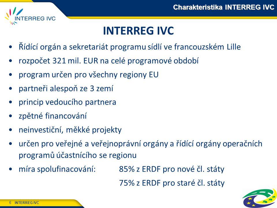 INTERREG IVC 6 Charakteristika INTERREG IVC INTERREG IVC Řídící orgán a sekretariát programu sídlí ve francouzském Lille rozpočet 321 mil. EUR na celé