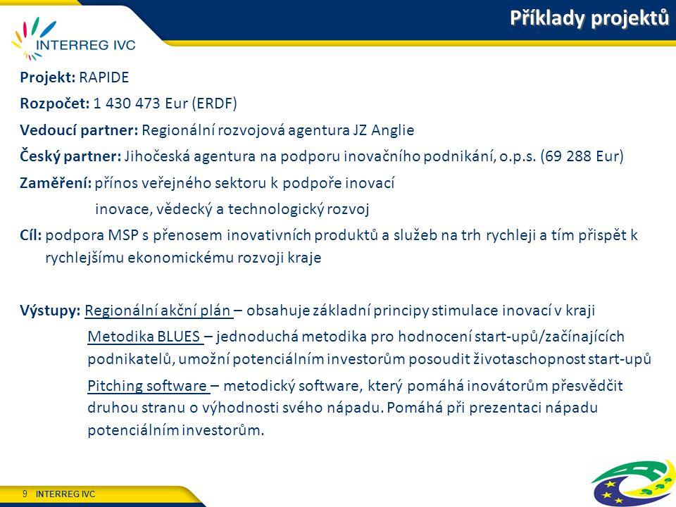 INTERREG IVC 9 Projekt: RAPIDE Rozpočet: 1 430 473 Eur (ERDF) Vedoucí partner: Regionální rozvojová agentura JZ Anglie Český partner: Jihočeská agentura na podporu inovačního podnikání, o.p.s.
