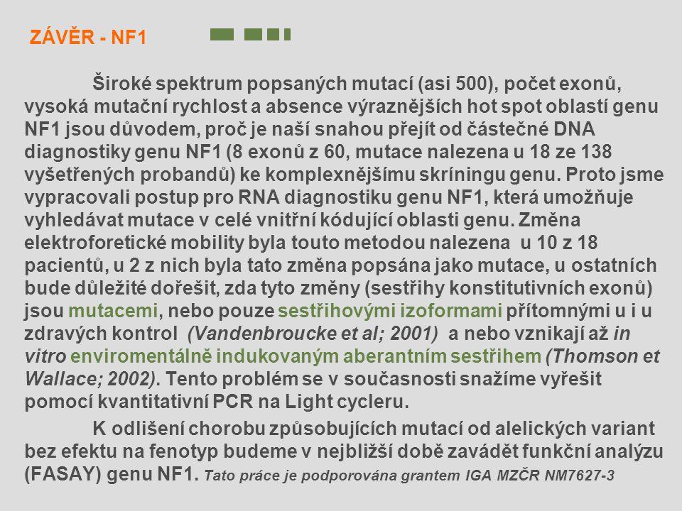 ZÁVĚR - NF1 Široké spektrum popsaných mutací (asi 500), počet exonů, vysoká mutační rychlost a absence výraznějších hot spot oblastí genu NF1 jsou dův