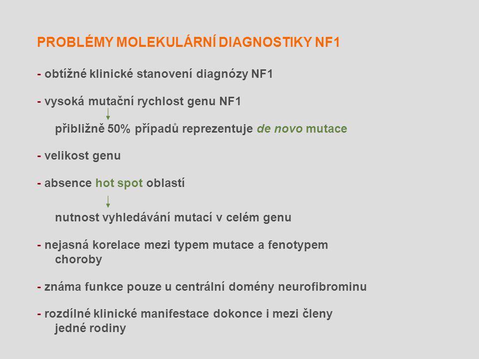 PROBLÉMY MOLEKULÁRNÍ DIAGNOSTIKY NF1 - obtížné klinické stanovení diagnózy NF1 - vysoká mutační rychlost genu NF1 přibližně 50% případů reprezentuje d