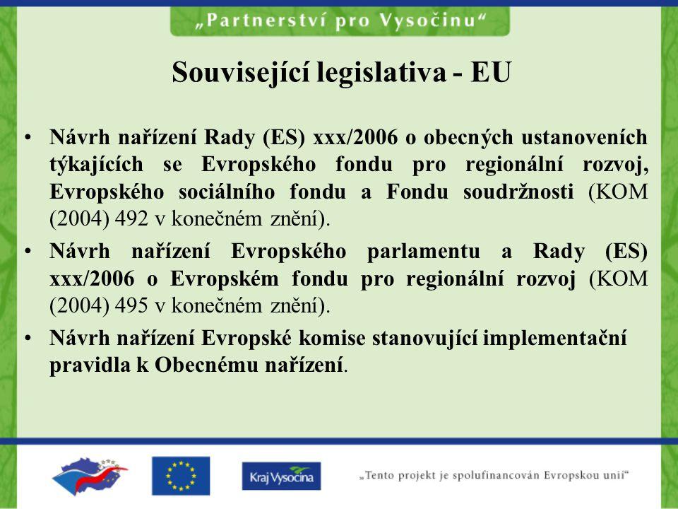 Související legislativa - EU Návrh nařízení Rady (ES) xxx/2006 o obecných ustanoveních týkajících se Evropského fondu pro regionální rozvoj, Evropského sociálního fondu a Fondu soudržnosti (KOM (2004) 492 v konečném znění).