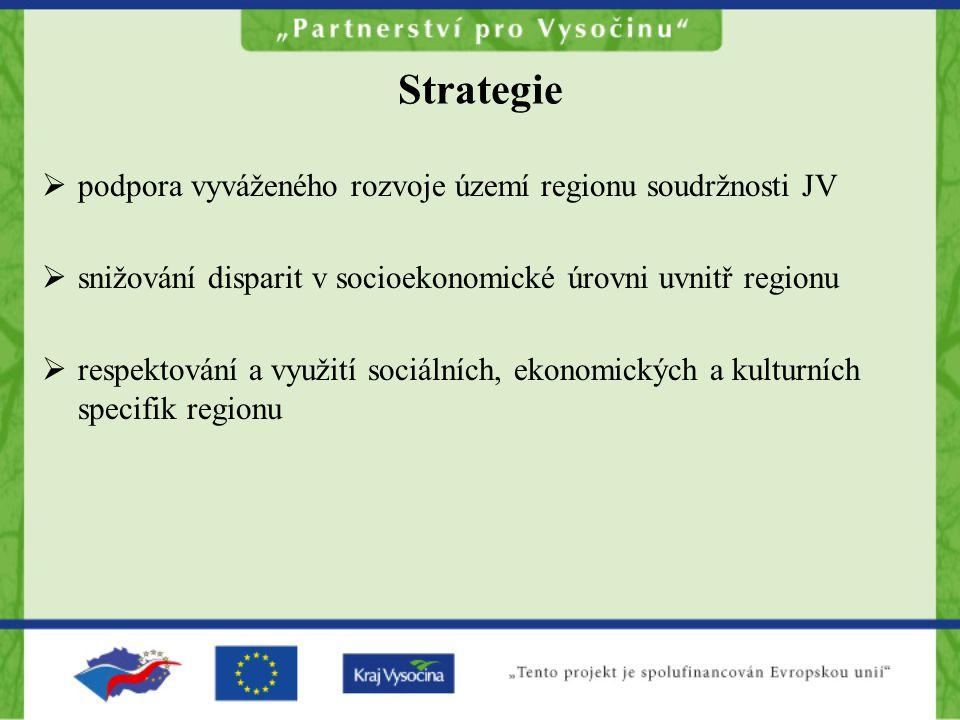 Strategie  podpora vyváženého rozvoje území regionu soudržnosti JV  snižování disparit v socioekonomické úrovni uvnitř regionu  respektování a využití sociálních, ekonomických a kulturních specifik regionu