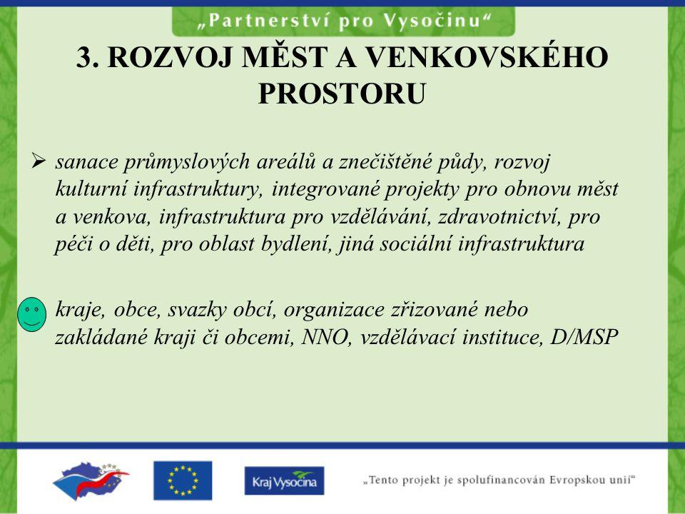 3. ROZVOJ MĚST A VENKOVSKÉHO PROSTORU  sanace průmyslových areálů a znečištěné půdy, rozvoj kulturní infrastruktury, integrované projekty pro obnovu