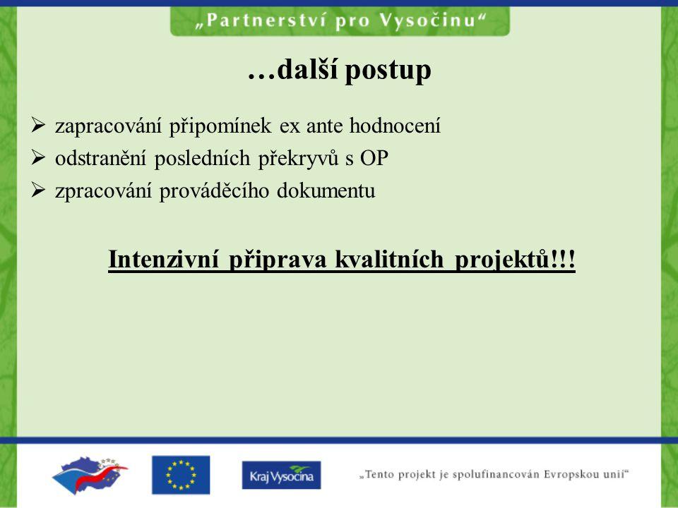 …další postup  zapracování připomínek ex ante hodnocení  odstranění posledních překryvů s OP  zpracování prováděcího dokumentu Intenzivní připrava kvalitních projektů!!!