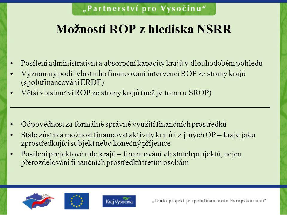 Možnosti ROP z hlediska NSRR Posílení administrativní a absorpční kapacity krajů v dlouhodobém pohledu Významný podíl vlastního financování intervencí ROP ze strany krajů (spolufinancování ERDF) Větší vlastnictví ROP ze strany krajů (než je tomu u SROP) _________________________________________________________________ Odpovědnost za formálně správné využití finančních prostředků Stále zůstává možnost financovat aktivity krajů i z jiných OP – kraje jako zprostředkující subjekt nebo konečný příjemce Posílení projektové role krajů – financování vlastních projektů, nejen přerozdělování finančních prostředků třetím osobám