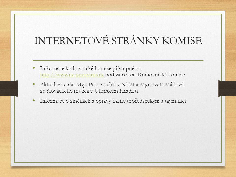 INTERNETOVÉ STRÁNKY KOMISE Informace knihovnické komise přístupné na http://www.cz-museums.cz pod záložkou Knihovnická komise http://www.cz-museums.cz Aktualizace dat Mgr.