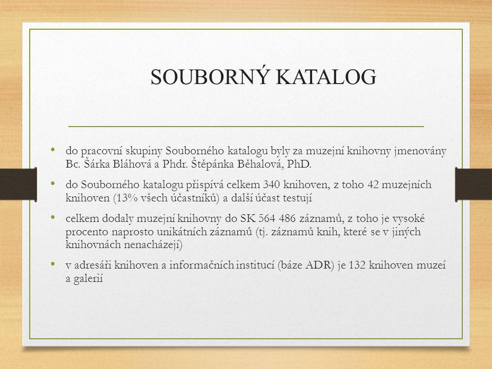 do pracovní skupiny Souborného katalogu byly za muzejní knihovny jmenovány Bc. Šárka Bláhová a Phdr. Štěpánka Běhalová, PhD. do Souborného katalogu př