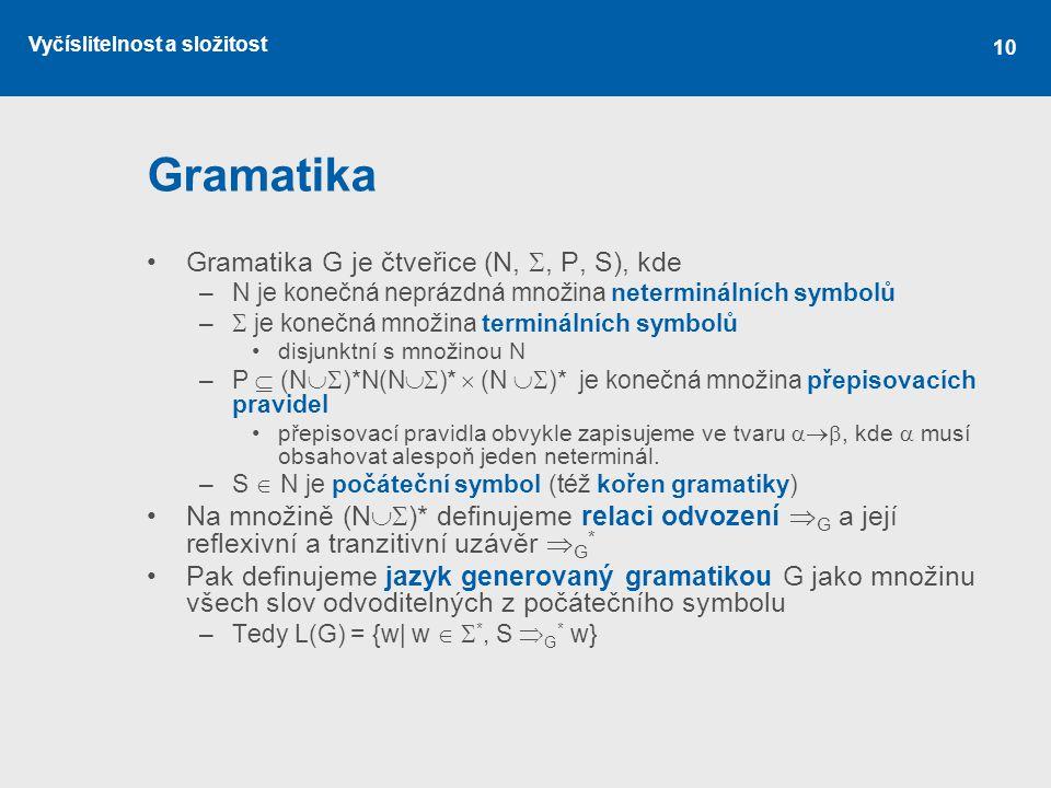 Vyčíslitelnost a složitost 10 Gramatika Gramatika G je čtveřice (N, , P, S), kde –N je konečná neprázdná množina neterminálních symbolů –  je konečn