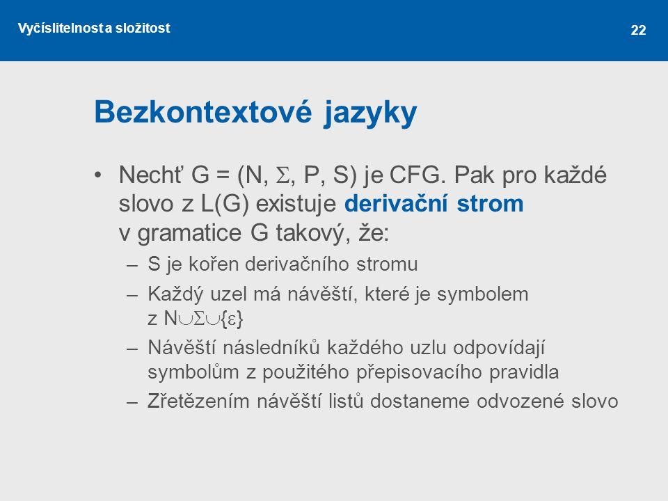 Vyčíslitelnost a složitost 22 Bezkontextové jazyky Nechť G = (N, , P, S) je CFG. Pak pro každé slovo z L(G) existuje derivační strom v gramatice G ta
