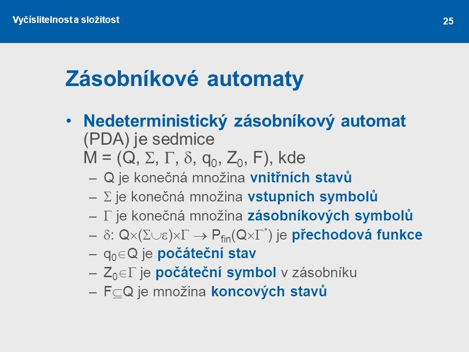 Vyčíslitelnost a složitost 25 Zásobníkové automaty Nedeterministický zásobníkový automat (PDA) je sedmice M = (Q, , , , q 0, Z 0, F), kde –Q je kon