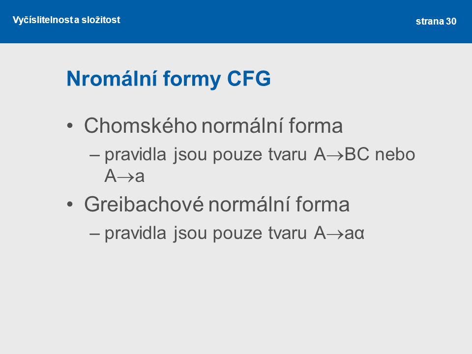 Vyčíslitelnost a složitost Nromální formy CFG Chomského normální forma –pravidla jsou pouze tvaru A  BC nebo A  a Greibachové normální forma –pravid