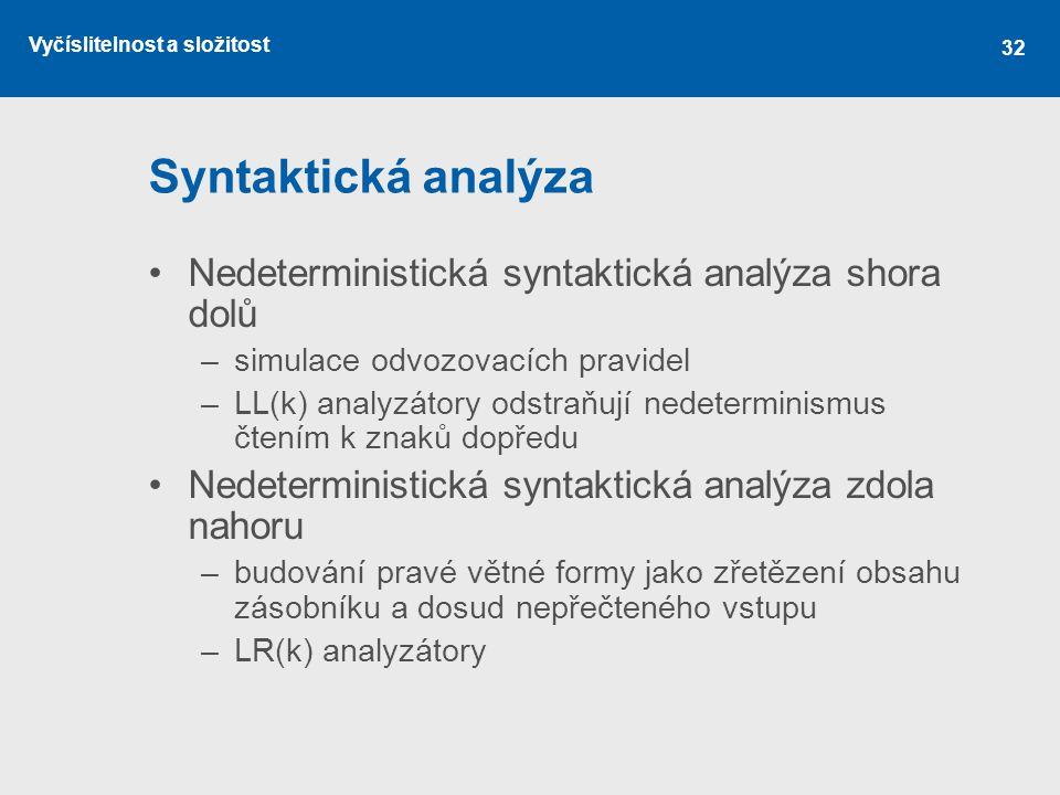 Vyčíslitelnost a složitost 32 Syntaktická analýza Nedeterministická syntaktická analýza shora dolů –simulace odvozovacích pravidel –LL(k) analyzátory