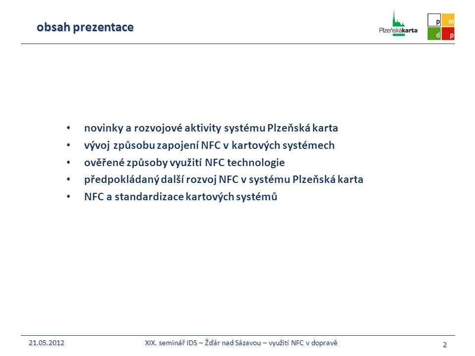 novinky a rozvojové aktivity systému Plzeňská karta vývoj způsobu zapojení NFC v kartových systémech ověřené způsoby využití NFC technologie předpoklá
