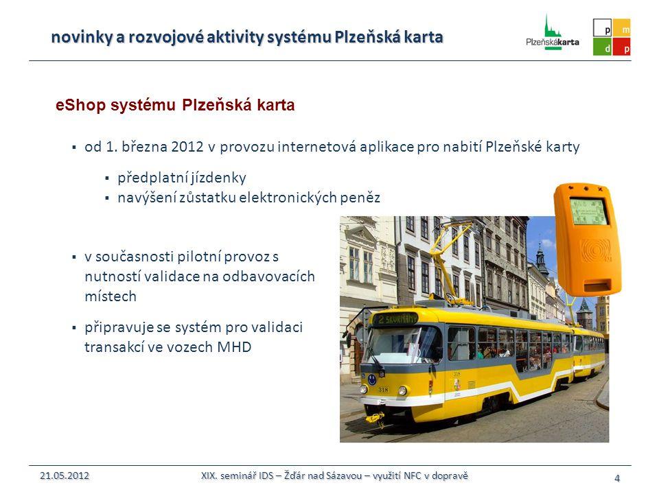  od 1. března 2012 v provozu internetová aplikace pro nabití Plzeňské karty  předplatní jízdenky  navýšení zůstatku elektronických peněz 4 21.05.20