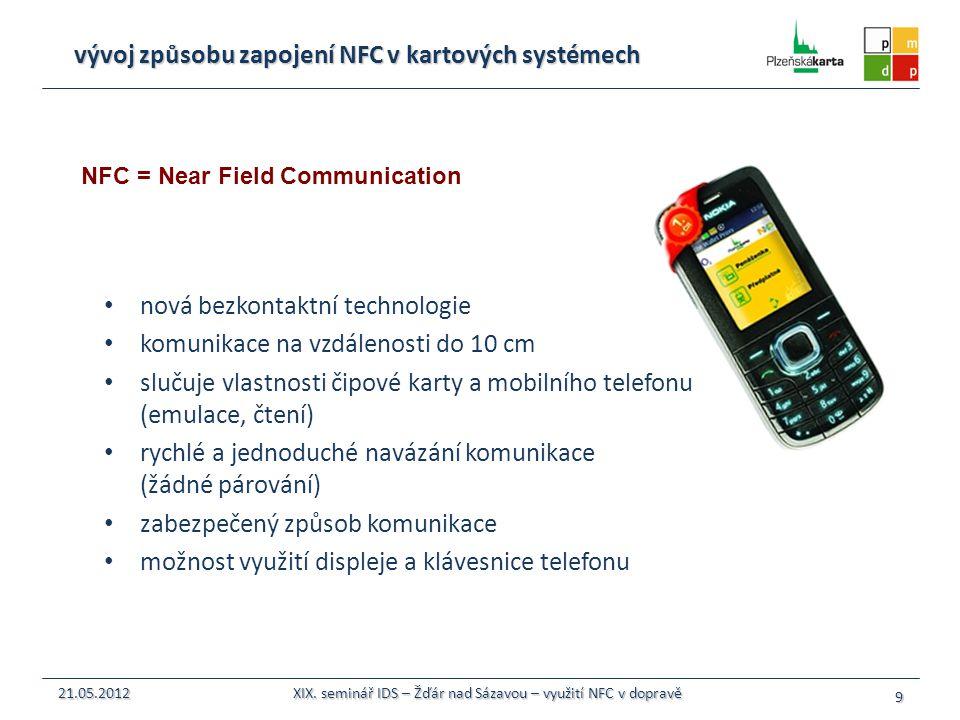 vývoj způsobu zapojení NFC v kartových systémech nová bezkontaktní technologie komunikace na vzdálenosti do 10 cm slučuje vlastnosti čipové karty a mo