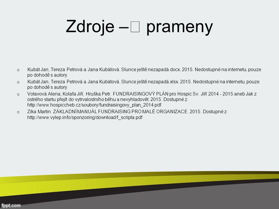 Zdroje –˜ prameny o Kubát Jan, Tereza Petrová a Jana Kubátová.