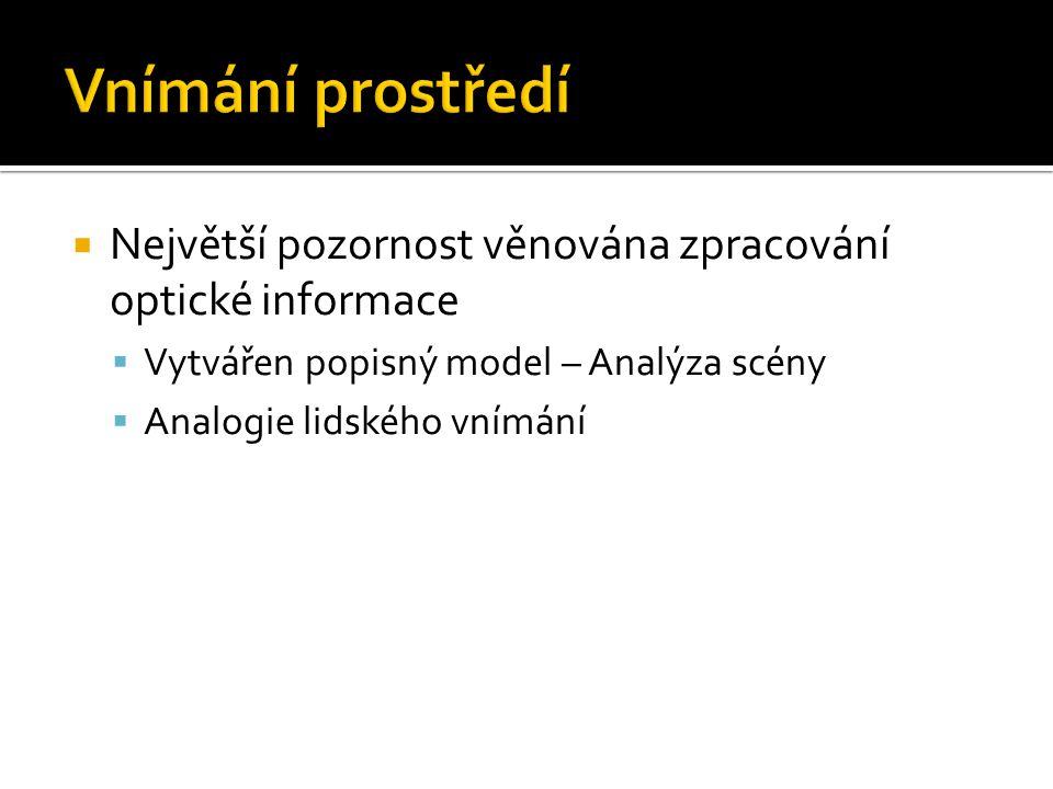  Největší pozornost věnována zpracování optické informace  Vytvářen popisný model – Analýza scény  Analogie lidského vnímání