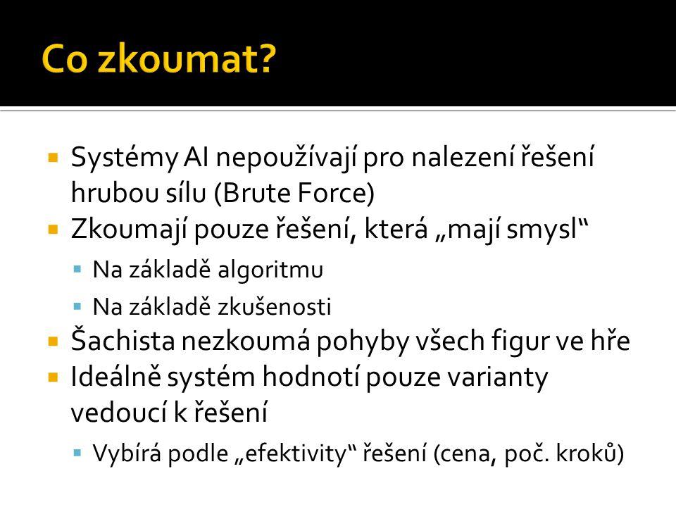 """ Systémy AI nepoužívají pro nalezení řešení hrubou sílu (Brute Force)  Zkoumají pouze řešení, která """"mají smysl  Na základě algoritmu  Na základě zkušenosti  Šachista nezkoumá pohyby všech figur ve hře  Ideálně systém hodnotí pouze varianty vedoucí k řešení  Vybírá podle """"efektivity řešení (cena, poč."""