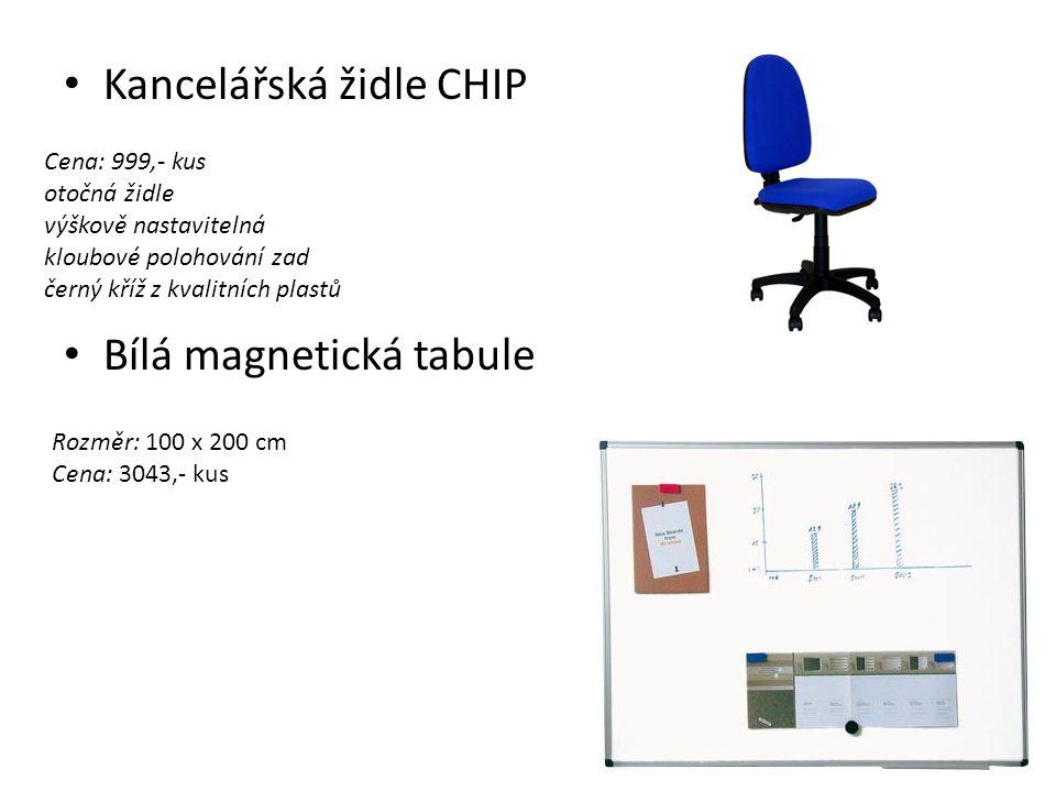 Kancelářská židle CHIP Bílá magnetická tabule Cena: 999,- kus otočná židle výškově nastavitelná kloubové polohování zad černý kříž z kvalitních plastů