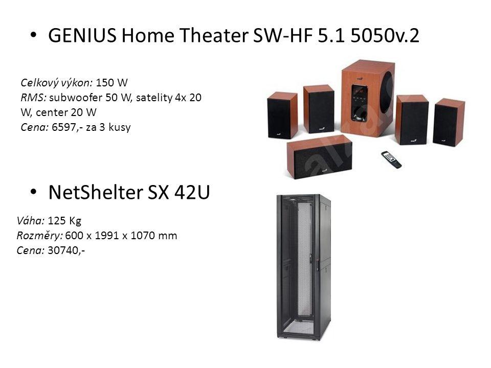 GENIUS Home Theater SW-HF 5.1 5050v.2 NetShelter SX 42U Celkový výkon: 150 W RMS: subwoofer 50 W, satelity 4x 20 W, center 20 W Cena: 6597,- za 3 kusy