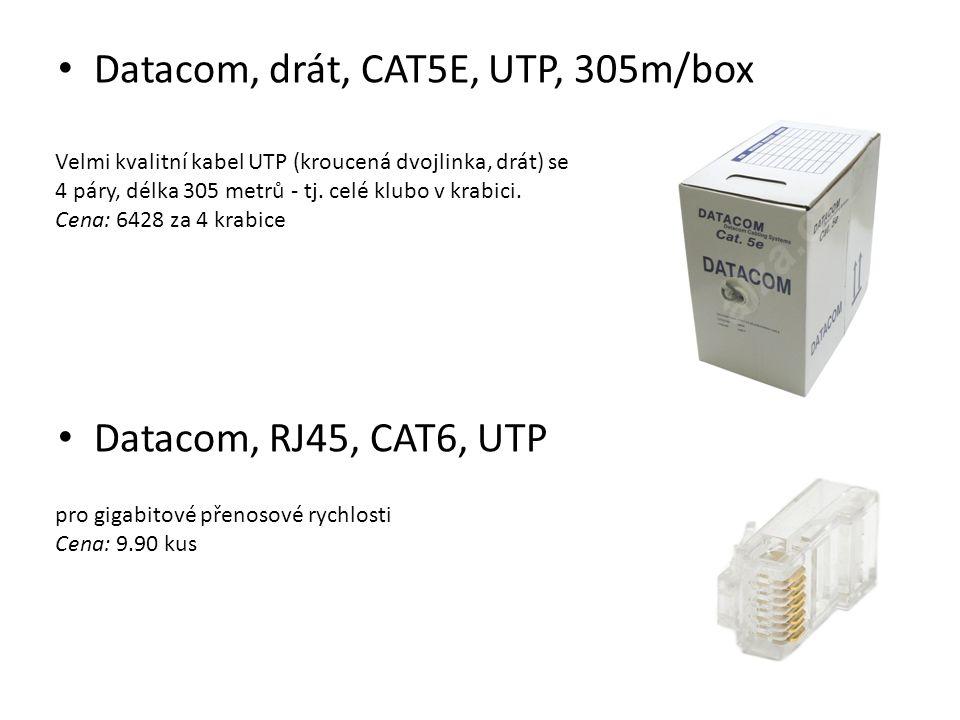 Datacom, drát, CAT5E, UTP, 305m/box Datacom, RJ45, CAT6, UTP Velmi kvalitní kabel UTP (kroucená dvojlinka, drát) se 4 páry, délka 305 metrů - tj. celé