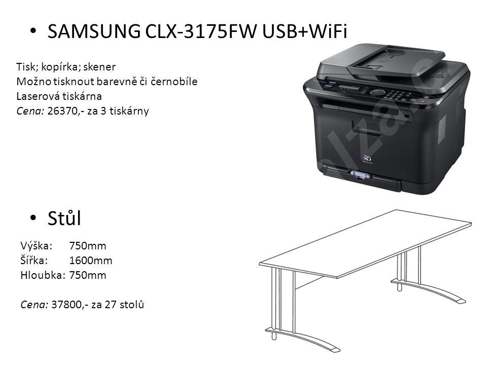 SAMSUNG CLX-3175FW USB+WiFi Stůl Tisk; kopírka; skener Možno tisknout barevně či černobíle Laserová tiskárna Cena: 26370,- za 3 tiskárny Výška:750mm Š