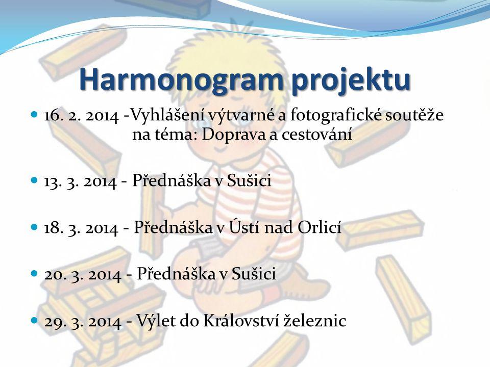 Harmonogram projektu 16. 2. 2014 -Vyhlášení výtvarné a fotografické soutěže na téma: Doprava a cestování 13. 3. 2014 - Přednáška v Sušici 18. 3. 2014