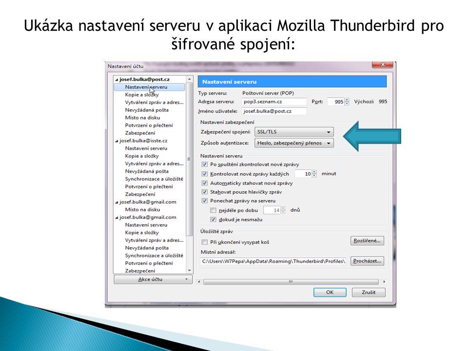 Ukázka nastavení serveru v aplikaci Mozilla Thunderbird pro šifrované spojení: