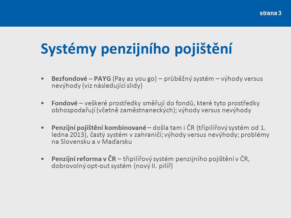 strana 3 Systémy penzijního pojištění Bezfondové – PAYG (Pay as you go) – průběžný systém – výhody versus nevýhody (viz následující slidy) Fondové – v
