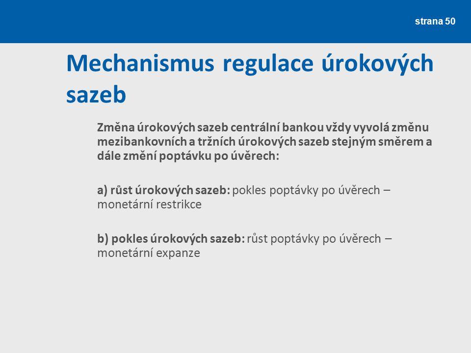 strana 50 Mechanismus regulace úrokových sazeb Změna úrokových sazeb centrální bankou vždy vyvolá změnu mezibankovních a tržních úrokových sazeb stejn
