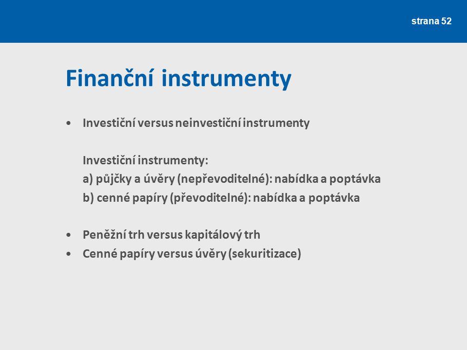 strana 52 Finanční instrumenty Investiční versus neinvestiční instrumenty Investiční instrumenty: a) půjčky a úvěry (nepřevoditelné): nabídka a poptáv