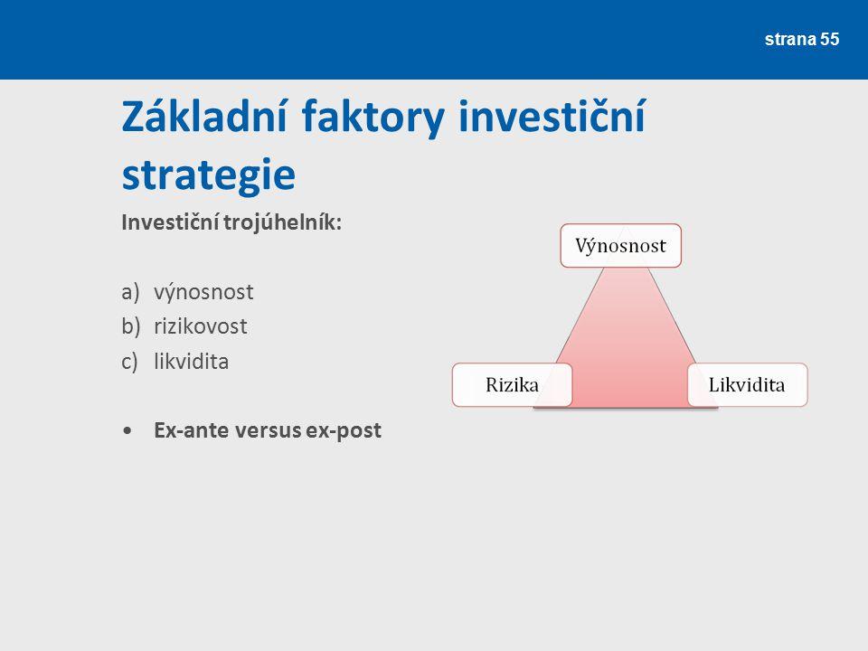 strana 55 Základní faktory investiční strategie Investiční trojúhelník: a)výnosnost b)rizikovost c)likvidita Ex-ante versus ex-post