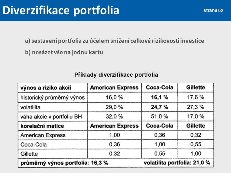 strana 62 Diverzifikace portfolia a) sestavení portfolia za účelem snížení celkové rizikovosti investice b) nesázet vše na jednu kartu Příklady diverz