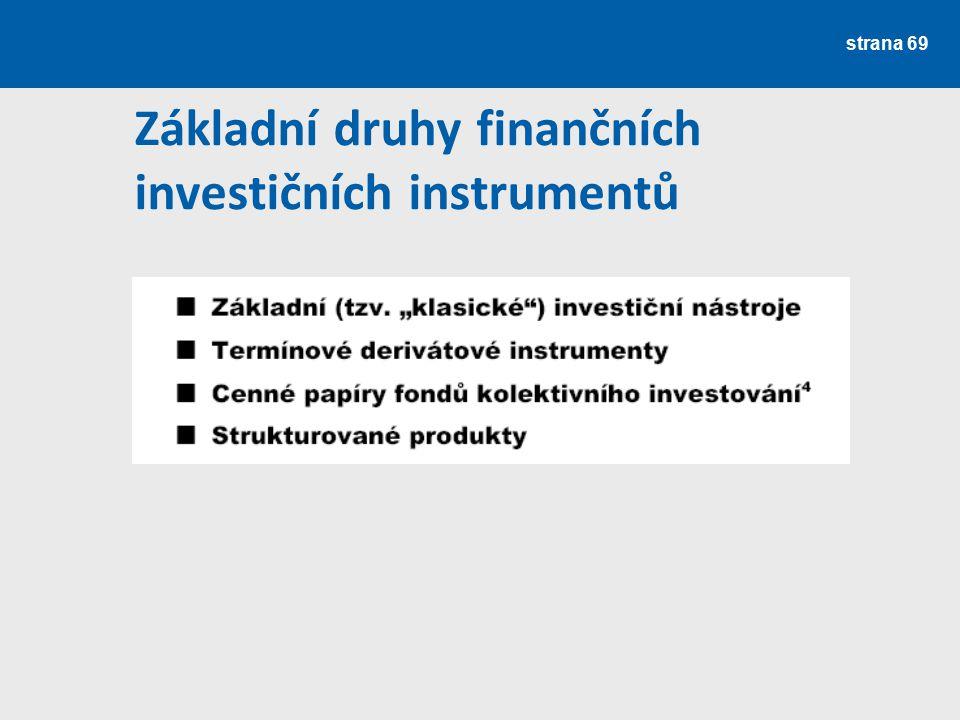 strana 69 Základní druhy finančních investičních instrumentů