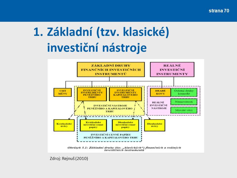 strana 70 1.Základní (tzv. klasické) investiční nástroje Zdroj: Rejnuš (2010)